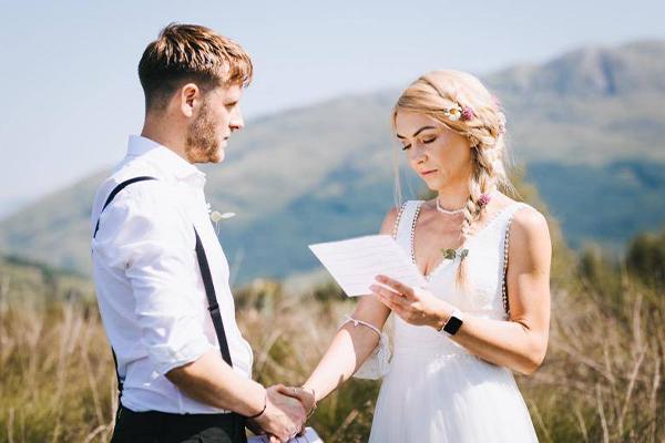 Mariage de Dougie et Jo sur la Réserve Highland Titles