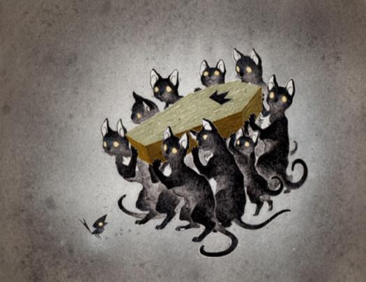 Neuf chats noirs avec des taches blanches sur la poitrine portant un cercueil avec une croix.